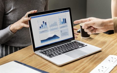 Business presentation on a laptop screen